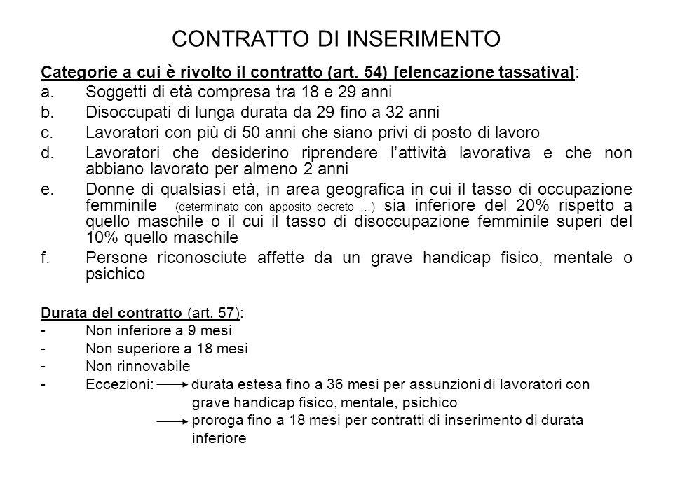 CONTRATTO DI INSERIMENTO Categorie a cui è rivolto il contratto (art. 54) [elencazione tassativa]: a.Soggetti di età compresa tra 18 e 29 anni b.Disoc