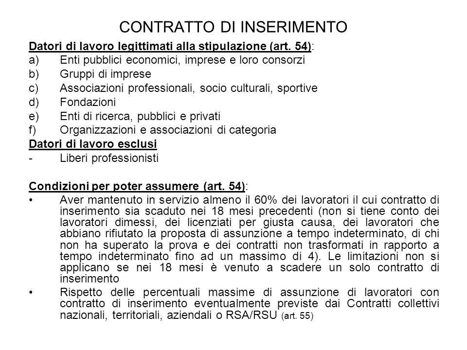 CONTRATTO DI INSERIMENTO Datori di lavoro legittimati alla stipulazione (art. 54): a)Enti pubblici economici, imprese e loro consorzi b)Gruppi di impr