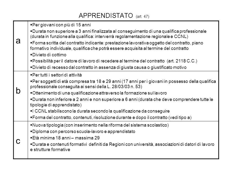 APPRENDISTATO (art. 47) a Per giovani con più di 15 anni Durata non superiore a 3 anni finalizzata al conseguimento di una qualifica professionale (du