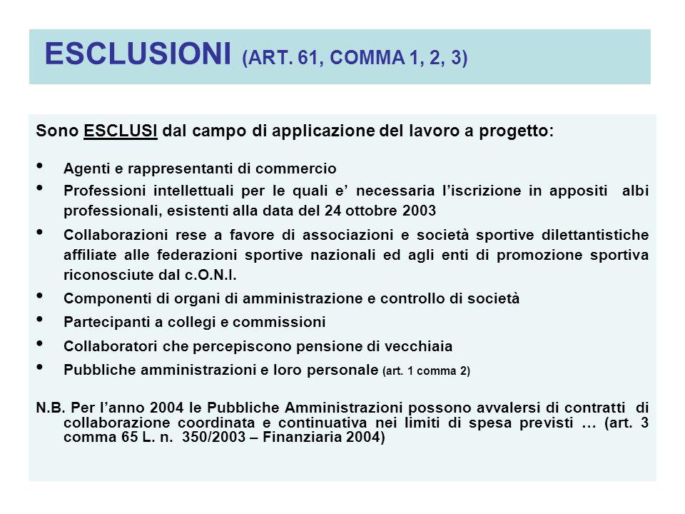 ESCLUSIONI (ART. 61, COMMA 1, 2, 3) Sono ESCLUSI dal campo di applicazione del lavoro a progetto: Agenti e rappresentanti di commercio Professioni int