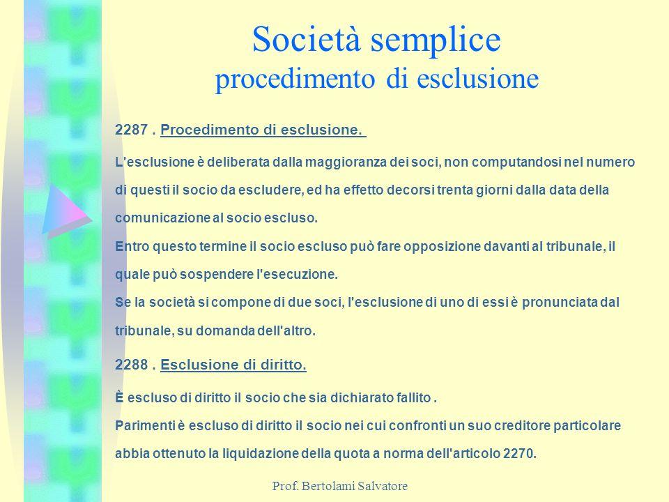 Prof. Bertolami Salvatore Società semplice procedimento di esclusione 2287. Procedimento di esclusione. L'esclusione è deliberata dalla maggioranza de