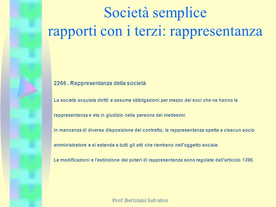 Prof. Bertolami Salvatore Società semplice rapporti con i terzi: rappresentanza 2266. Rappresentanza della società La società acquista diritti e assum