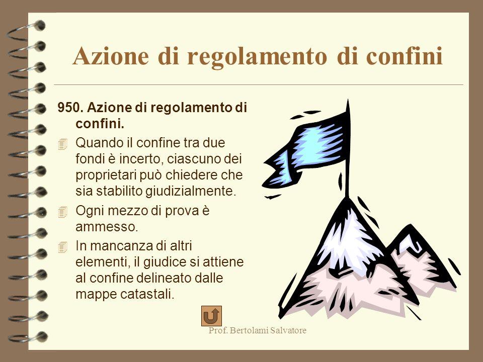Prof. Bertolami Salvatore Azione negatoria 949. Azione negatoria. 4 Il proprietario può agire per far dichiarare l'inesistenza di diritti affermati da