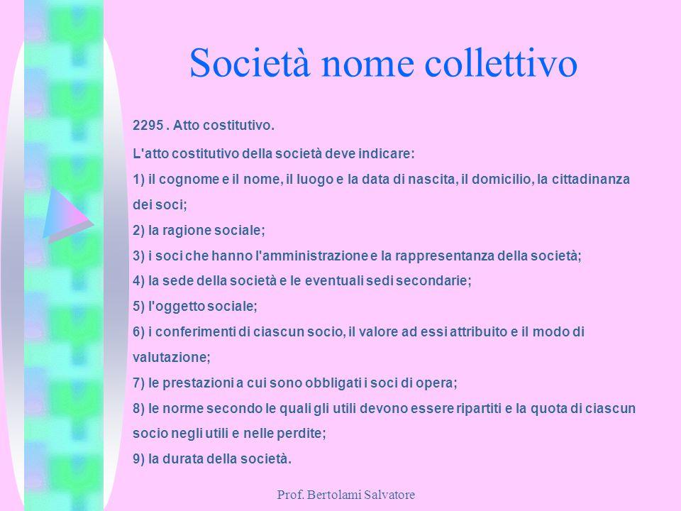 Prof. Bertolami Salvatore Società nome collettivo 2295. Atto costitutivo. L'atto costitutivo della società deve indicare: 1) il cognome e il nome, il