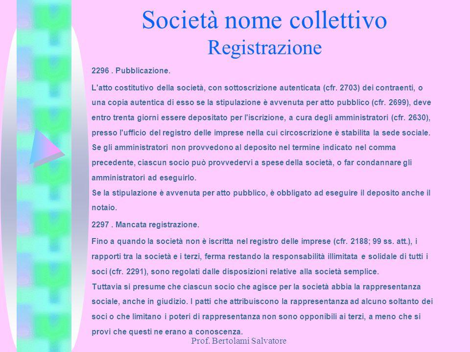 Prof. Bertolami Salvatore Società nome collettivo Registrazione 2296. Pubblicazione. L'atto costitutivo della società, con sottoscrizione autenticata