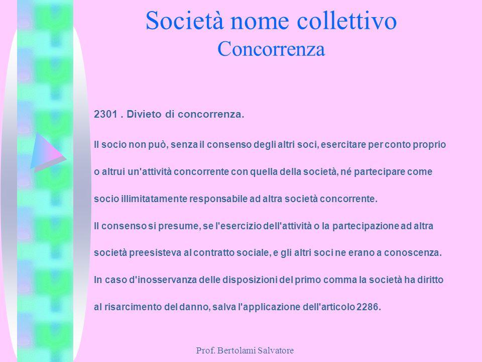 Prof. Bertolami Salvatore Società nome collettivo Concorrenza 2301. Divieto di concorrenza. Il socio non può, senza il consenso degli altri soci, eser