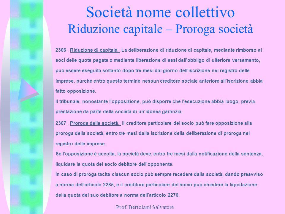 Prof. Bertolami Salvatore Società nome collettivo Riduzione capitale – Proroga società 2306. Riduzione di capitale. La deliberazione di riduzione di c