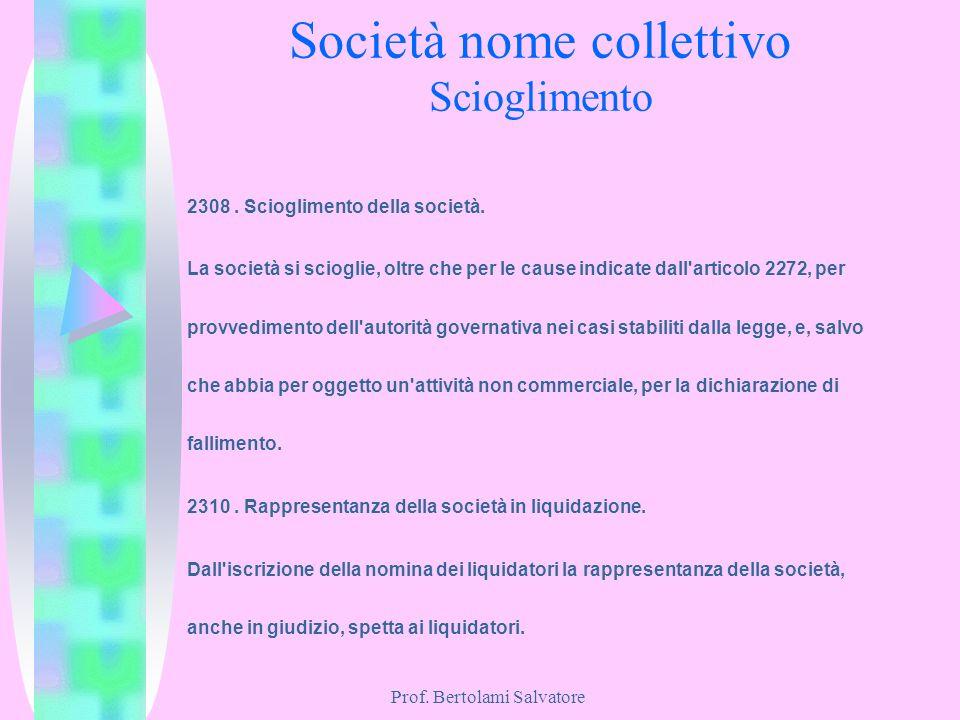Prof. Bertolami Salvatore Società nome collettivo Scioglimento 2308. Scioglimento della società. La società si scioglie, oltre che per le cause indica