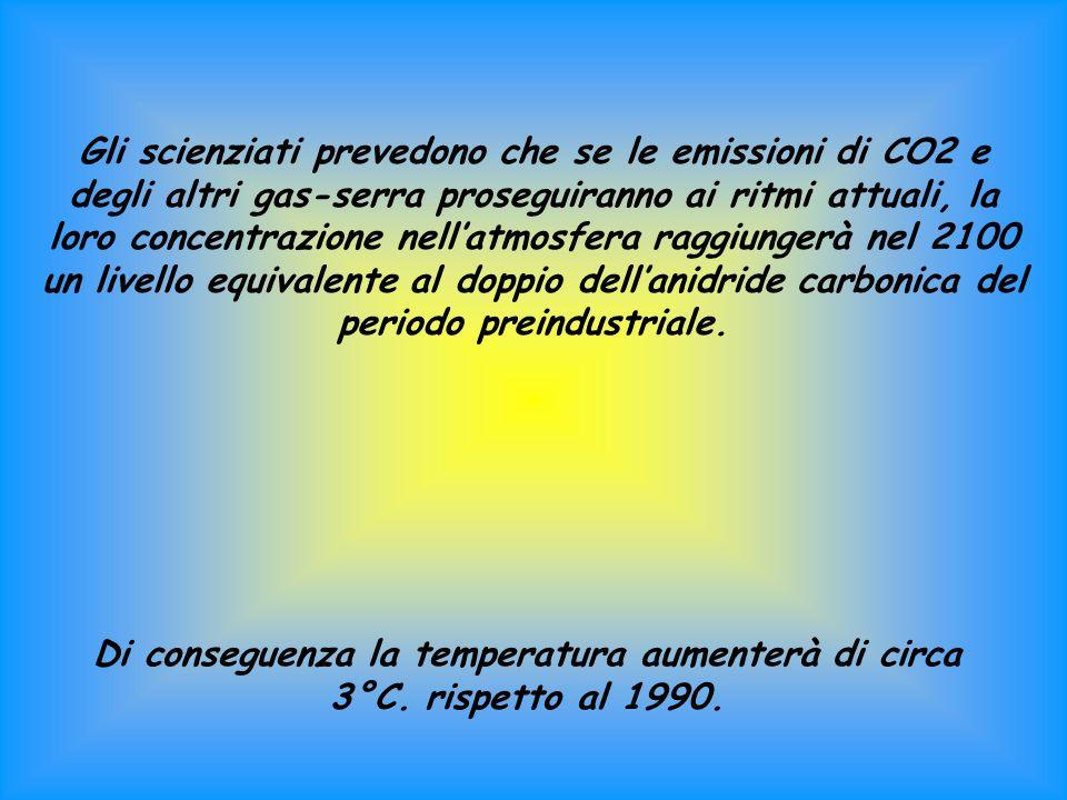 Gli scienziati prevedono che se le emissioni di CO2 e degli altri gas-serra proseguiranno ai ritmi attuali, la loro concentrazione nellatmosfera raggiungerà nel 2100 un livello equivalente al doppio dellanidride carbonica del periodo preindustriale.