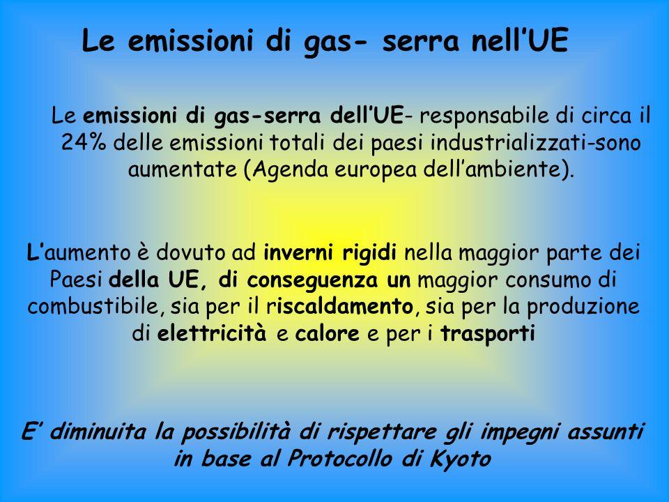 Le emissioni di gas- serra nellUE Le emissioni di gas-serra dellUE- responsabile di circa il 24% delle emissioni totali dei paesi industrializzati-sono aumentate (Agenda europea dellambiente).