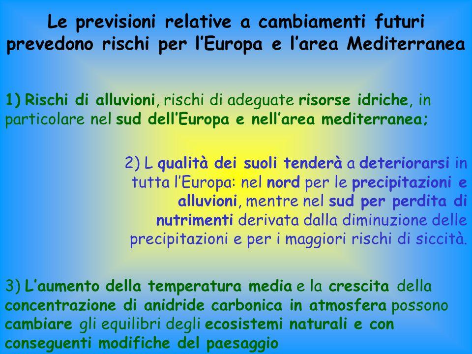 Le previsioni relative a cambiamenti futuri prevedono rischi per lEuropa e larea Mediterranea 1) Rischi di alluvioni, rischi di adeguate risorse idriche, in particolare nel sud dellEuropa e nellarea mediterranea; 2) L qualità dei suoli tenderà a deteriorarsi in tutta lEuropa: nel nord per le precipitazioni e alluvioni, mentre nel sud per perdita di nutrimenti derivata dalla diminuzione delle precipitazioni e per i maggiori rischi di siccità.