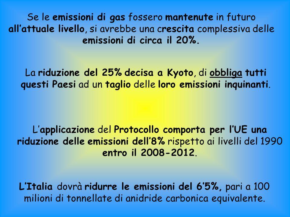 Se le emissioni di gas fossero mantenute in futuro allattuale livello, si avrebbe una crescita complessiva delle emissioni di circa il 20%.