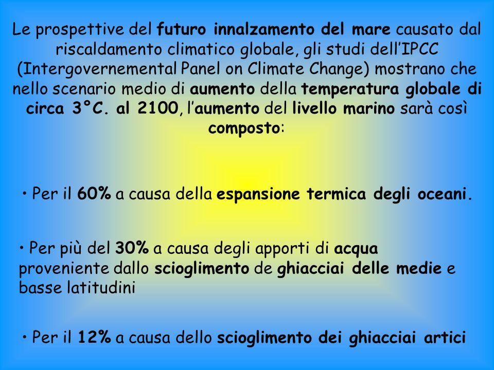 Le prospettive del futuro innalzamento del mare causato dal riscaldamento climatico globale, gli studi dellIPCC (Intergovernemental Panel on Climate Change) mostrano che nello scenario medio di aumento della temperatura globale di circa 3°C.
