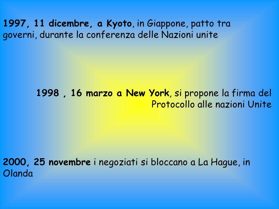 1997, 11 dicembre, a Kyoto, in Giappone, patto tra governi, durante la conferenza delle Nazioni unite 1998, 16 marzo a New York, si propone la firma del Protocollo alle nazioni Unite 2000, 25 novembre i negoziati si bloccano a La Hague, in Olanda