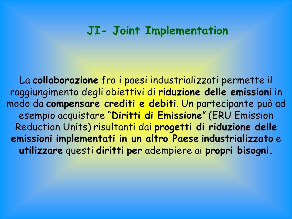 JI- Joint Implementation La collaborazione fra i paesi industrializzati permette il raggiungimento degli obiettivi di riduzione delle emissioni in modo da compensare crediti e debiti.