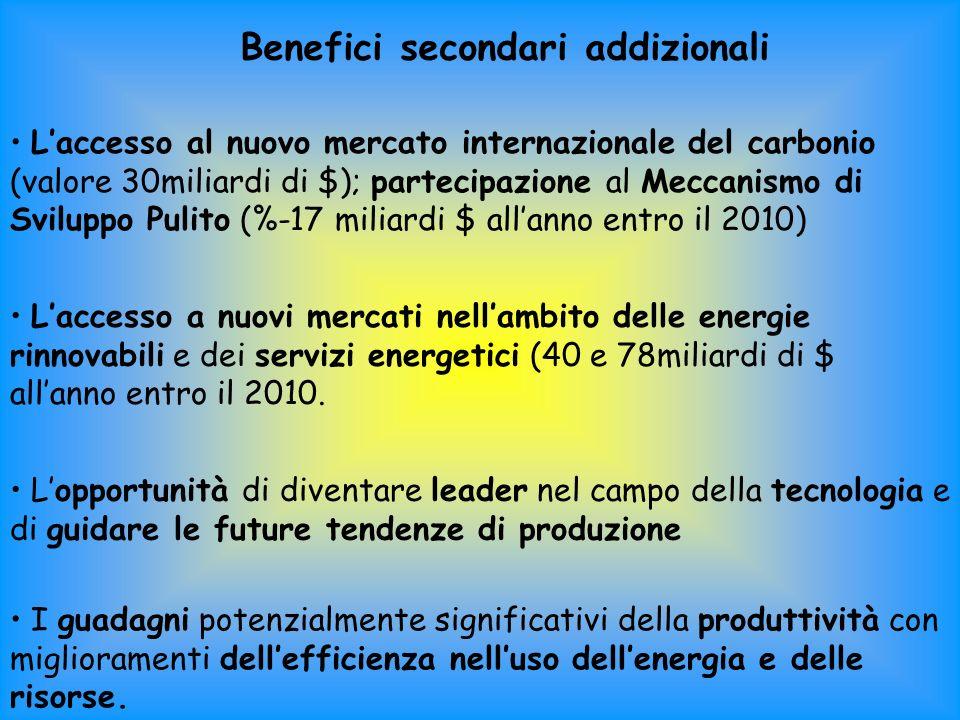 Benefici secondari addizionali Laccesso al nuovo mercato internazionale del carbonio (valore 30miliardi di $); partecipazione al Meccanismo di Sviluppo Pulito (%-17 miliardi $ allanno entro il 2010) Laccesso a nuovi mercati nellambito delle energie rinnovabili e dei servizi energetici (40 e 78miliardi di $ allanno entro il 2010.