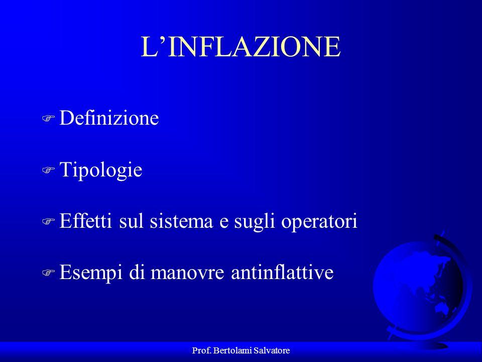 Prof. Bertolami Salvatore Il problema inflazione Linflazione è un fenomeno tipico dei sistemi economici contemporanei che può avere differenti cause: