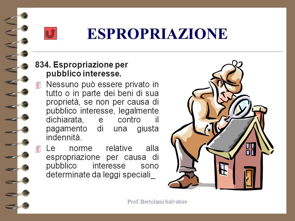 Prof.Bertolami Salvatore ESPROPRIAZIONE 834. Espropriazione per pubblico interesse.