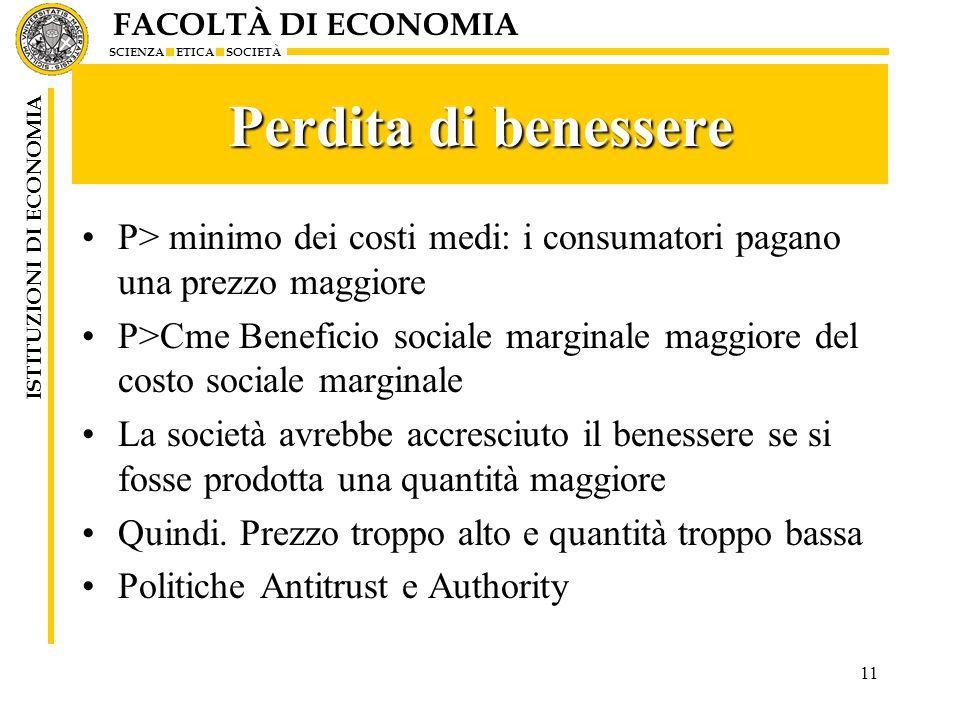 FACOLTÀ DI ECONOMIA SCIENZA ETICA SOCIETÀ ISTITUZIONI DI ECONOMIA 11 Perdita di benessere P> minimo dei costi medi: i consumatori pagano una prezzo ma