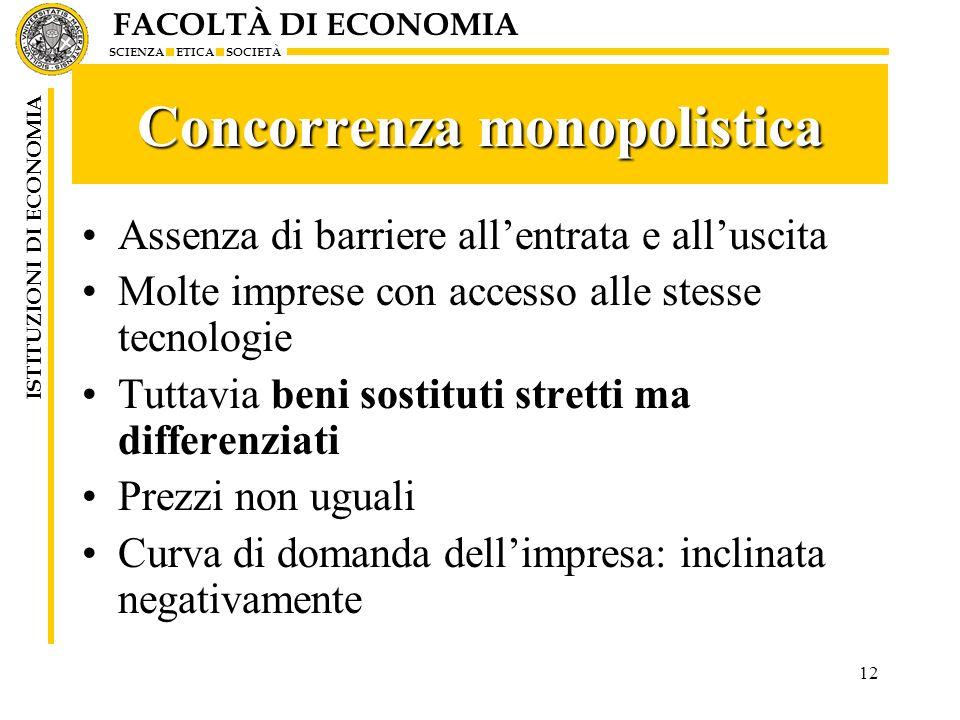FACOLTÀ DI ECONOMIA SCIENZA ETICA SOCIETÀ ISTITUZIONI DI ECONOMIA 12 Concorrenza monopolistica Assenza di barriere allentrata e alluscita Molte impres