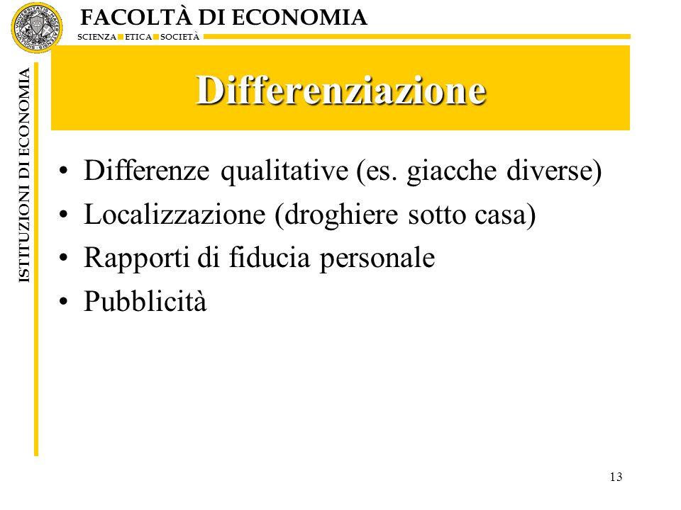 FACOLTÀ DI ECONOMIA SCIENZA ETICA SOCIETÀ ISTITUZIONI DI ECONOMIA 13 Differenziazione Differenze qualitative (es. giacche diverse) Localizzazione (dro