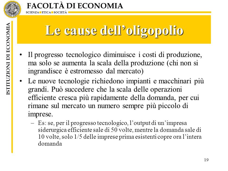 FACOLTÀ DI ECONOMIA SCIENZA ETICA SOCIETÀ ISTITUZIONI DI ECONOMIA 19 Le cause delloligopolio Il progresso tecnologico diminuisce i costi di produzione