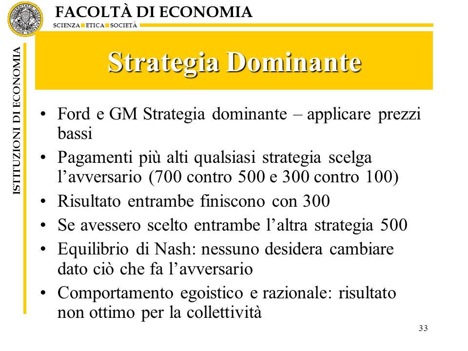 FACOLTÀ DI ECONOMIA SCIENZA ETICA SOCIETÀ ISTITUZIONI DI ECONOMIA 33 Strategia Dominante Ford e GM Strategia dominante – applicare prezzi bassi Pagame
