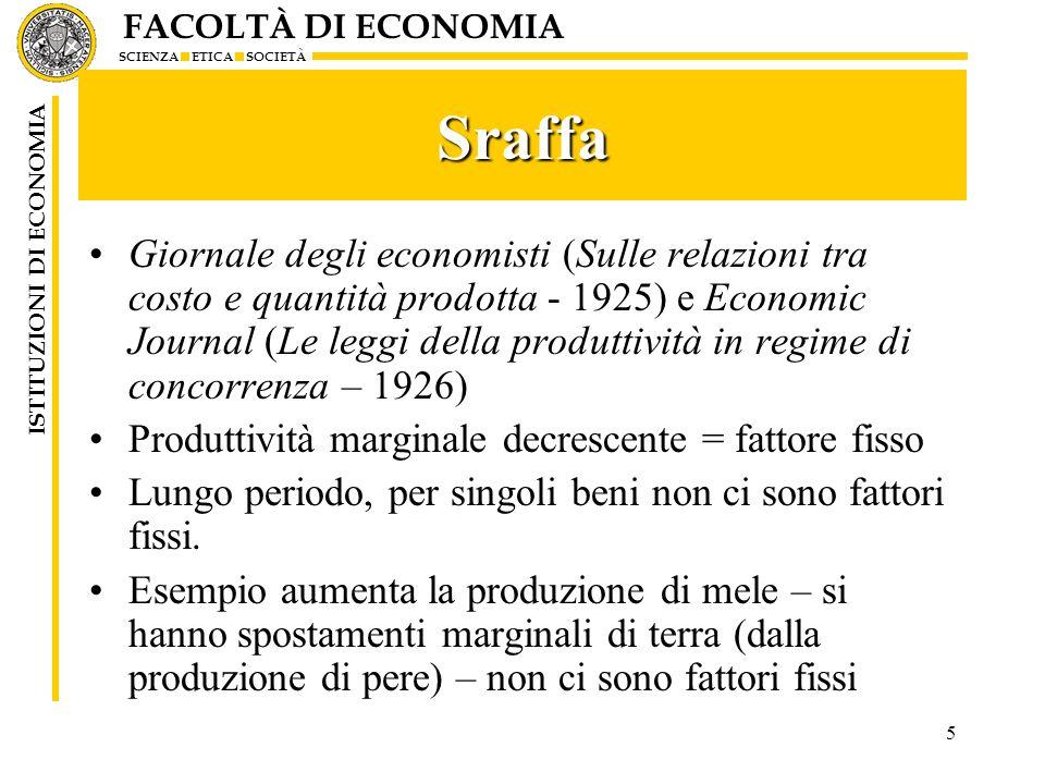 FACOLTÀ DI ECONOMIA SCIENZA ETICA SOCIETÀ ISTITUZIONI DI ECONOMIA 5 Sraffa Giornale degli economisti (Sulle relazioni tra costo e quantità prodotta -