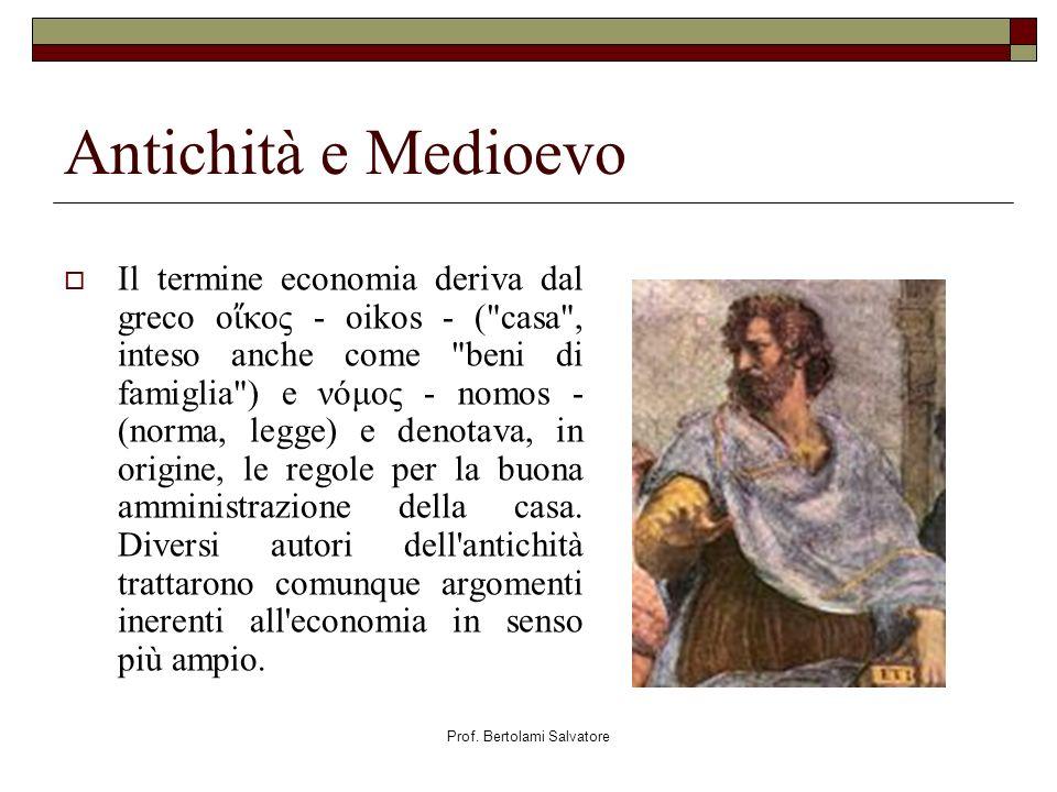 Prof. Bertolami Salvatore Antichità e Medioevo Il termine economia deriva dal greco ο κος - oikos - (