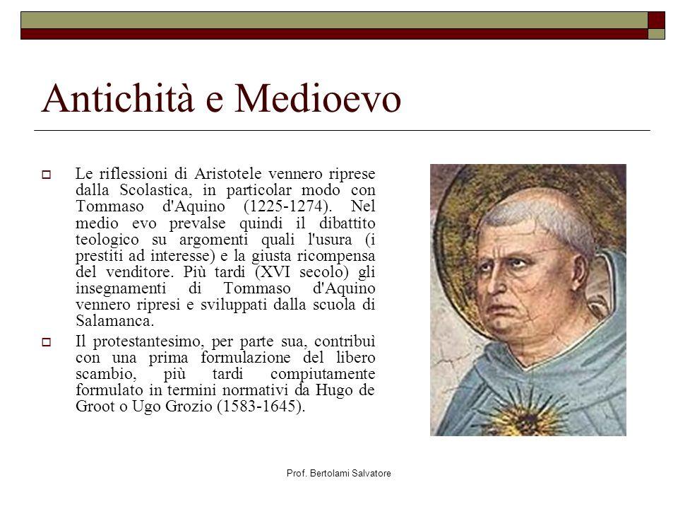 Prof. Bertolami Salvatore Antichità e Medioevo Le riflessioni di Aristotele vennero riprese dalla Scolastica, in particolar modo con Tommaso d'Aquino