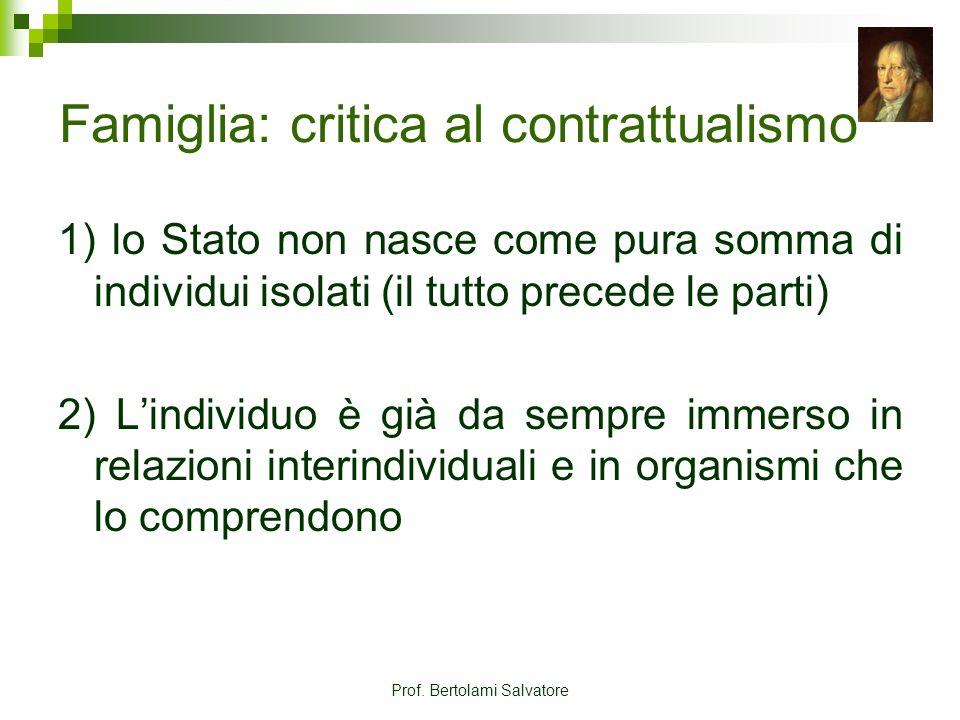 Prof. Bertolami Salvatore Famiglia: critica al contrattualismo 1) lo Stato non nasce come pura somma di individui isolati (il tutto precede le parti)