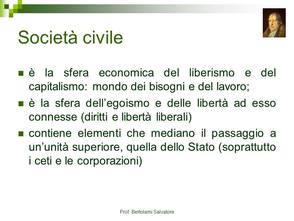 Prof. Bertolami Salvatore Società civile è la sfera economica del liberismo e del capitalismo: mondo dei bisogni e del lavoro; è la sfera dellegoismo
