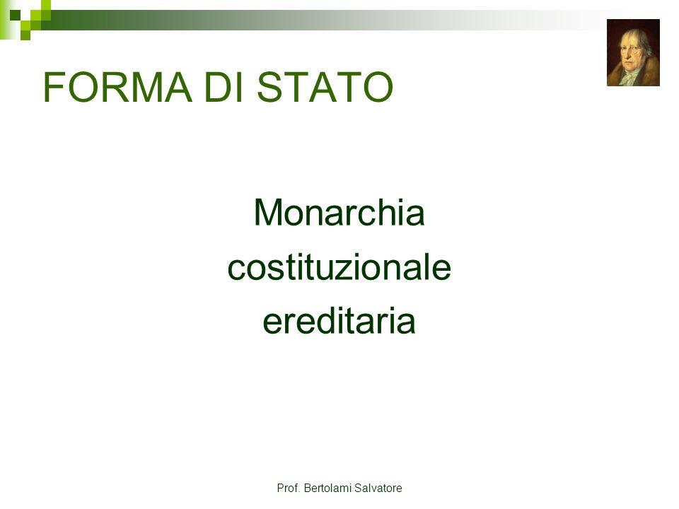 Prof. Bertolami Salvatore FORMA DI STATO Monarchia costituzionale ereditaria