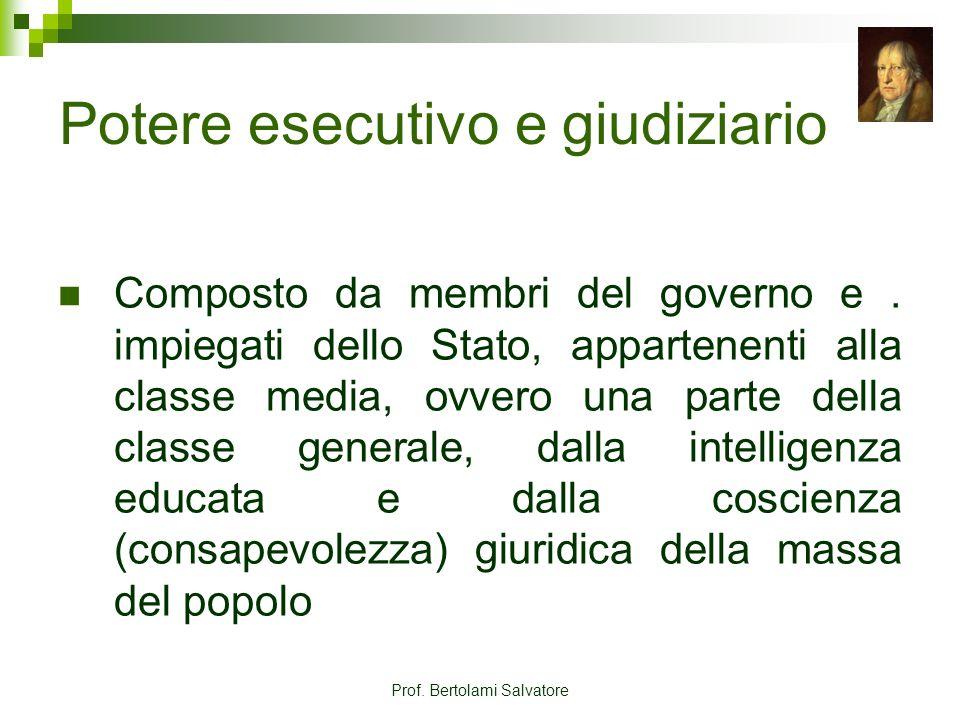 Prof. Bertolami Salvatore Potere esecutivo e giudiziario Composto da membri del governo e. impiegati dello Stato, appartenenti alla classe media, ovve