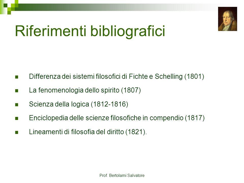 Prof. Bertolami Salvatore Riferimenti bibliografici Differenza dei sistemi filosofici di Fichte e Schelling (1801) La fenomenologia dello spirito (180
