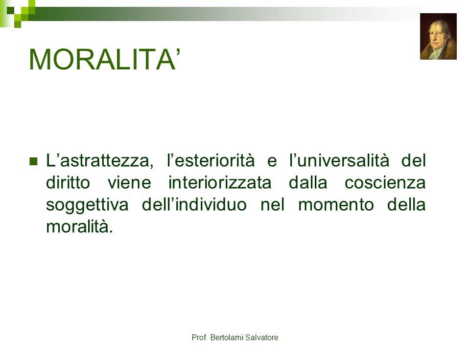 Prof. Bertolami Salvatore MORALITA Lastrattezza, lesteriorità e luniversalità del diritto viene interiorizzata dalla coscienza soggettiva dellindividu