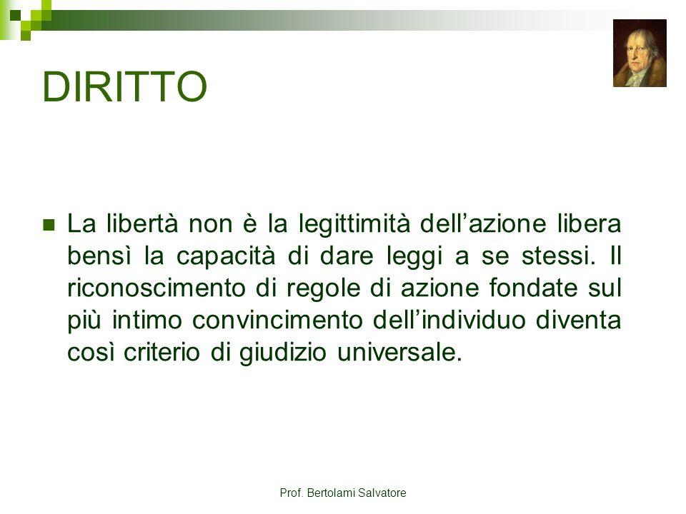 Prof. Bertolami Salvatore DIRITTO La libertà non è la legittimità dellazione libera bensì la capacità di dare leggi a se stessi. Il riconoscimento di