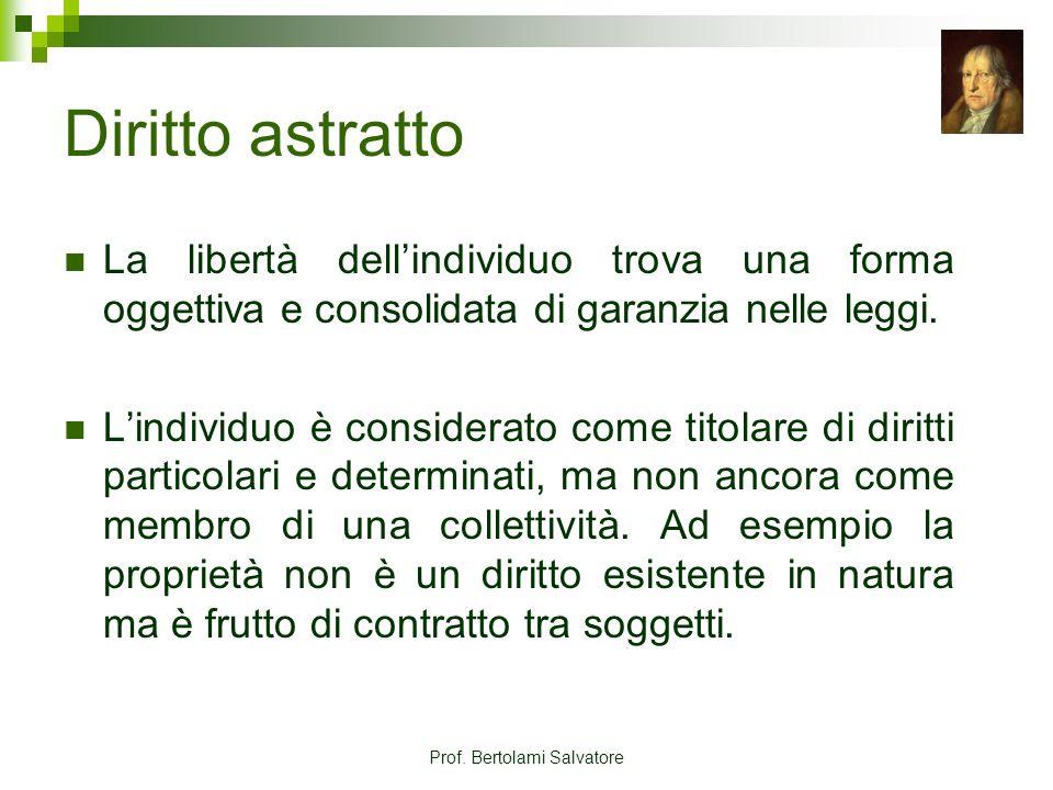 Prof. Bertolami Salvatore Diritto astratto La libertà dellindividuo trova una forma oggettiva e consolidata di garanzia nelle leggi. Lindividuo è cons