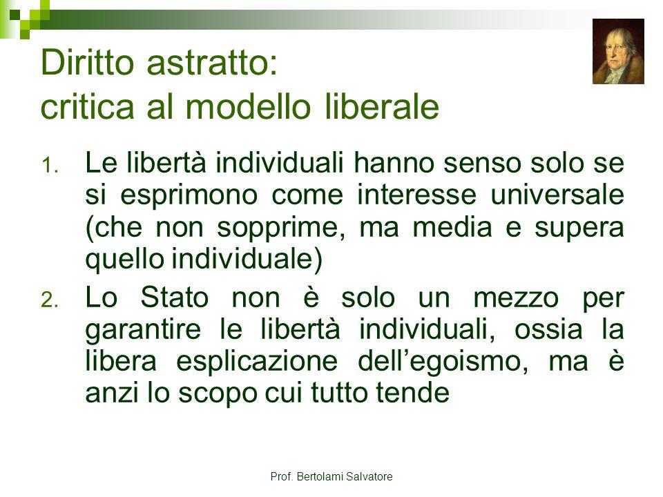 Prof. Bertolami Salvatore Diritto astratto: critica al modello liberale 1. Le libertà individuali hanno senso solo se si esprimono come interesse univ