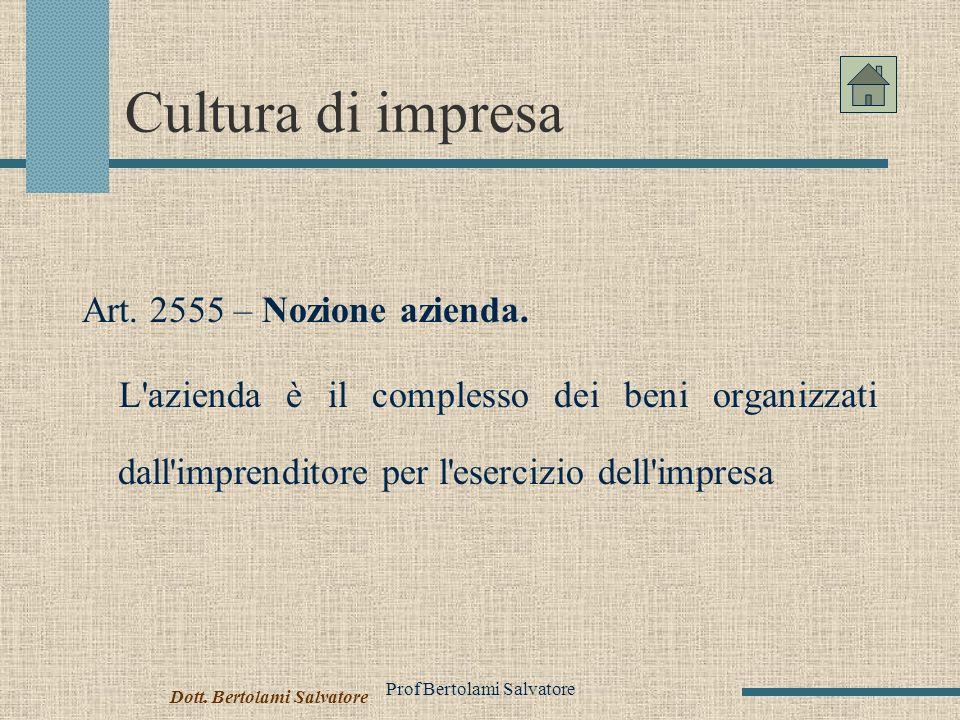 Prof Bertolami Salvatore Cultura di impresa Art.2555 – Nozione azienda.