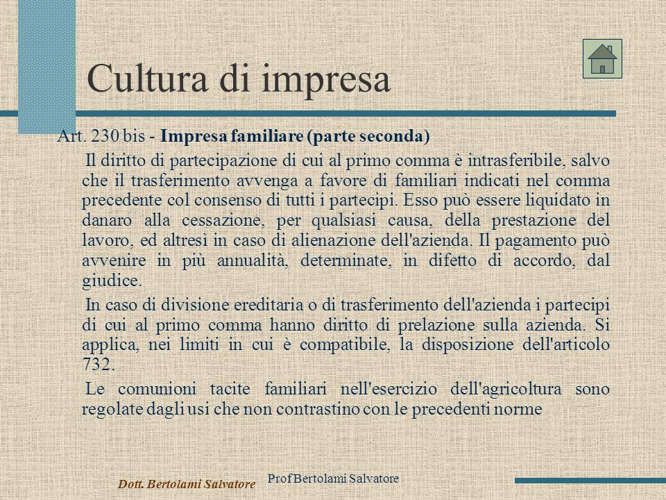 Prof Bertolami Salvatore Cultura di impresa Art.
