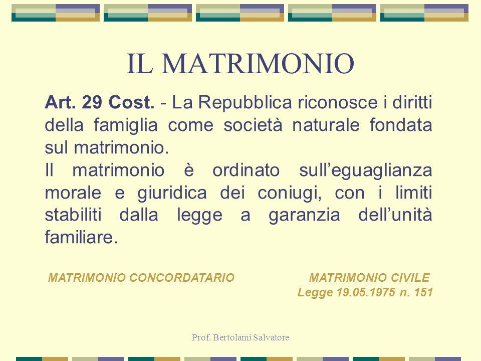 Prof. Bertolami Salvatore IL MATRIMONIO Art. 29 Cost. - La Repubblica riconosce i diritti della famiglia come società naturale fondata sul matrimonio.