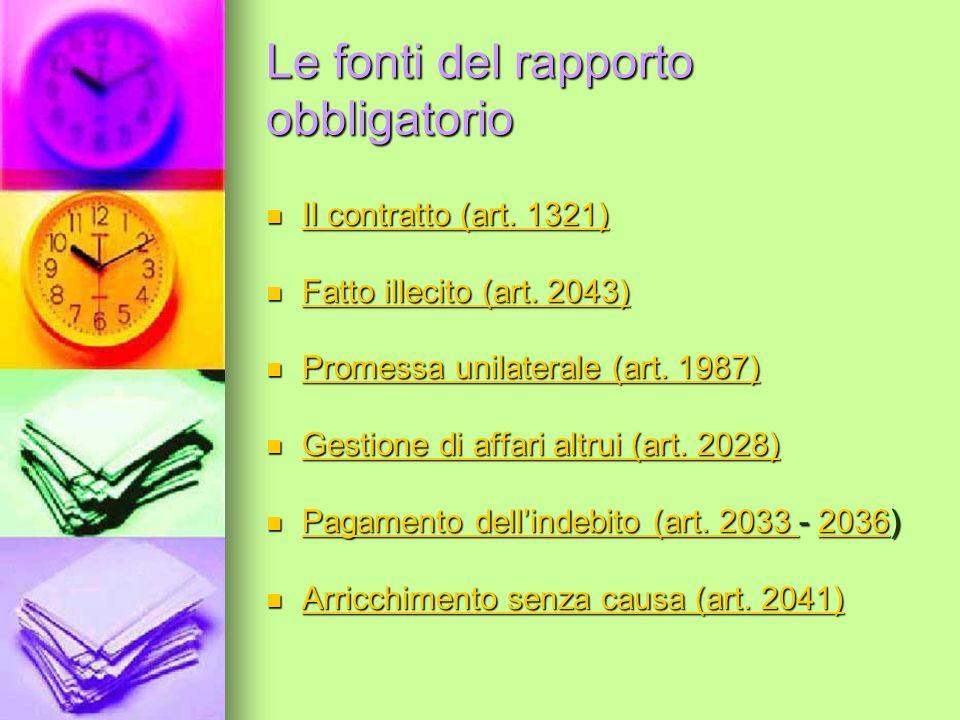 Le fonti del rapporto obbligatorio Il contratto (art.