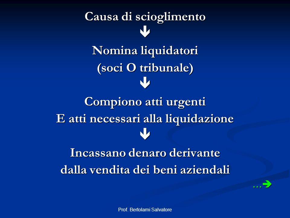 Prof. Bertolami Salvatore Causa di scioglimento Nomina liquidatori (soci O tribunale) Compiono atti urgenti E atti necessari alla liquidazione Incassa