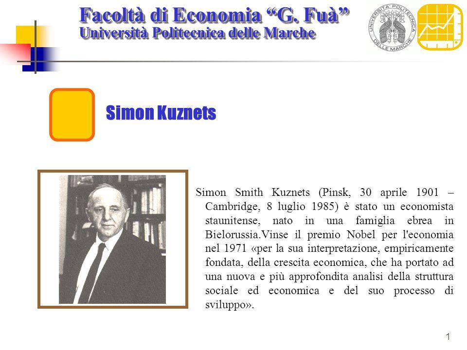 Facoltà di Economia G. Fuà Università Politecnica delle Marche Facoltà di Economia G. Fuà Università Politecnica delle Marche 1 Simon Kuznets Simon Sm