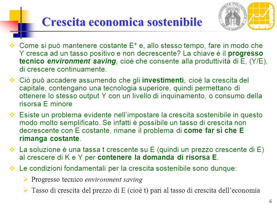 4 Crescita economica sostenibile Come si può mantenere costante E* e, allo stesso tempo, fare in modo che Y cresca ad un tasso positivo e non decresce