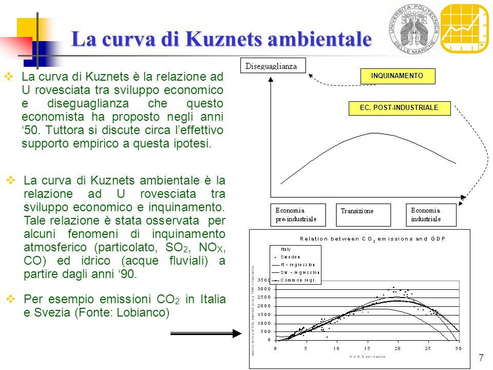7 La curva di Kuznets ambientale La curva di Kuznets è la relazione ad U rovesciata tra sviluppo economico e diseguaglianza che questo economista ha p