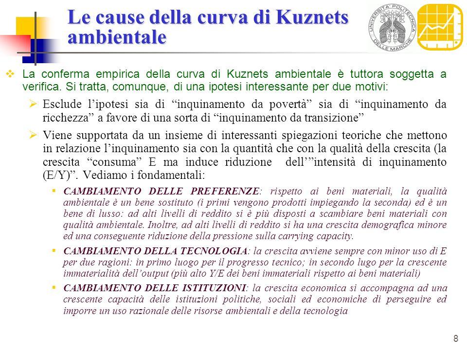 8 Le cause della curva di Kuznets ambientale La conferma empirica della curva di Kuznets ambientale è tuttora soggetta a verifica. Si tratta, comunque