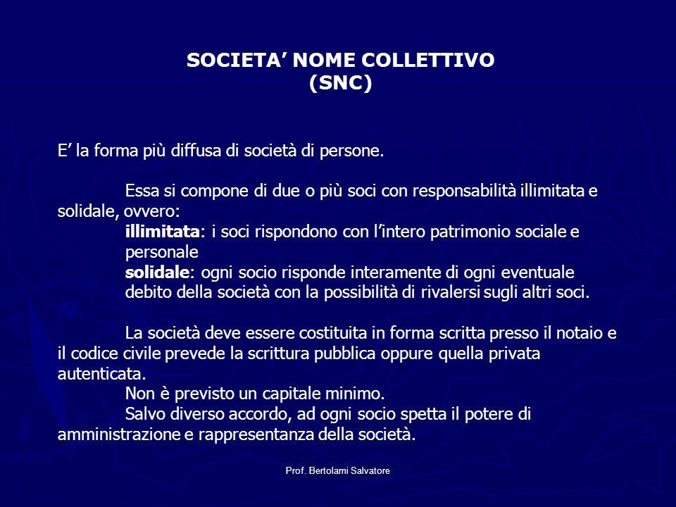 Prof. Bertolami Salvatore SOCIETA NOME COLLETTIVO (SNC) E la forma più diffusa di società di persone. Essa si compone di due o più soci con responsabi
