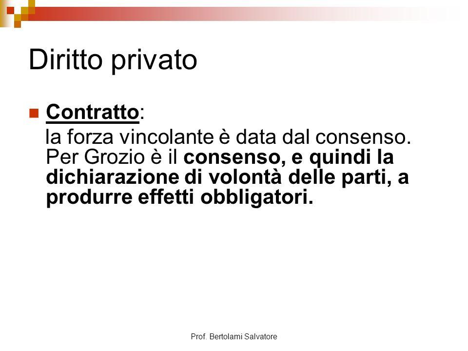 Prof. Bertolami Salvatore Diritto privato Contratto: la forza vincolante è data dal consenso. Per Grozio è il consenso, e quindi la dichiarazione di v